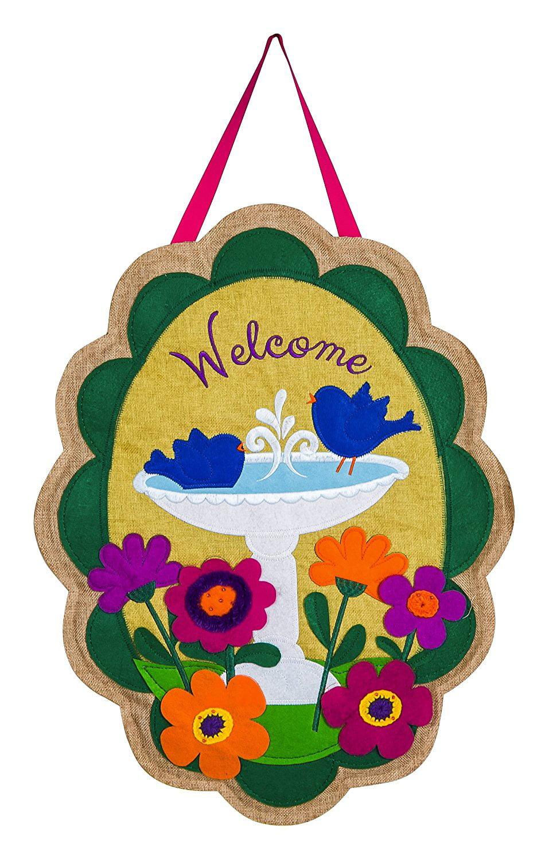Welcome Birdbath Door Hanger, Keep your front door seasonal and stylish with this decorative door hanger By Evergreen... by
