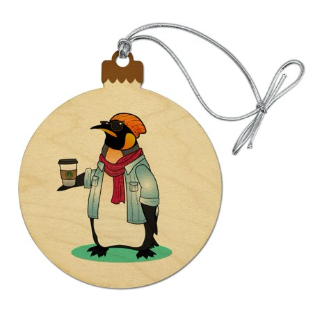 Cool Penguin Hipster with Coffee Wood Christmas Tree Holiday Ornament (Holiday Penguin)