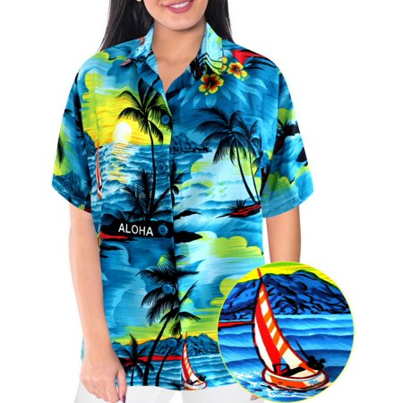 c0c43fc2d000 LA LEELA - La Leela SOFT LIKRE Beach ALOHA Cruise Women Camp Blouse ...