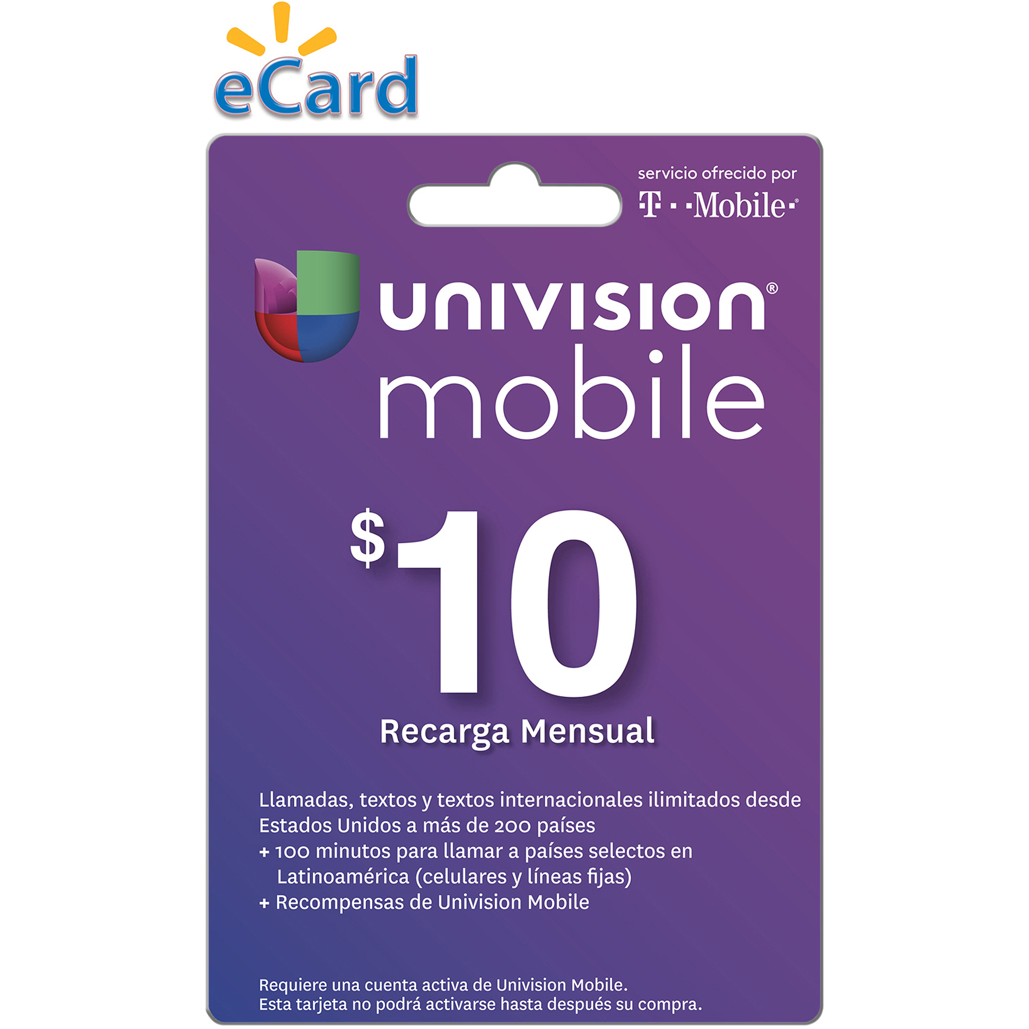 Univision Mobile $10 Card (Email Delivery)