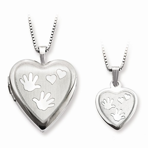 Sterling Silver Polished Satin Hand and Hearts Locket & Pendant Set