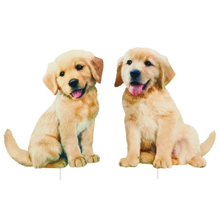 Golden Retriever Puppies Yard Stakes - Set of 2 - Outdoor Decorative Realistic Figurine  for Yard or