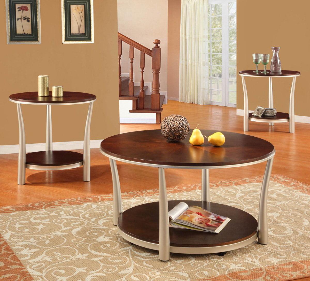 Homelegance P. Allred 3 Piece Coffee Table Set w/ Nickel Legs