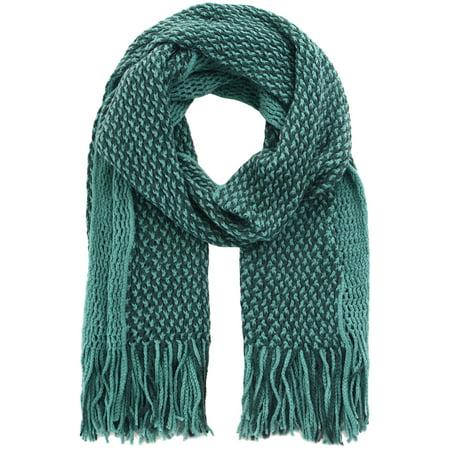 Green Headwrap/Scarf in Soft Knit Pattern, 2 Toned Acrylic