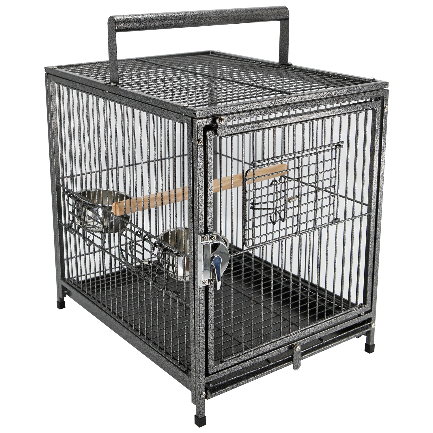 "PawHut 18""x 14"" x 22"" Metal 22"" Portable Heavy Duty Travel Bird Cage with Handle&Perch"