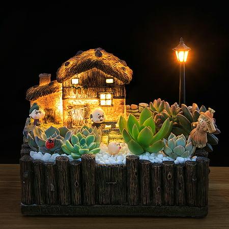 LED Light Sky Garden Small House Succulent Green Plant Planter Herb Flower Basket Bonsai Pot Christmas Gift Present Home Decor ()