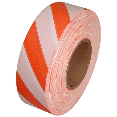 Orange and White Safety Striped Flagging Tape 1 3/16 inch x 300 ft (Striped Safety Tape)