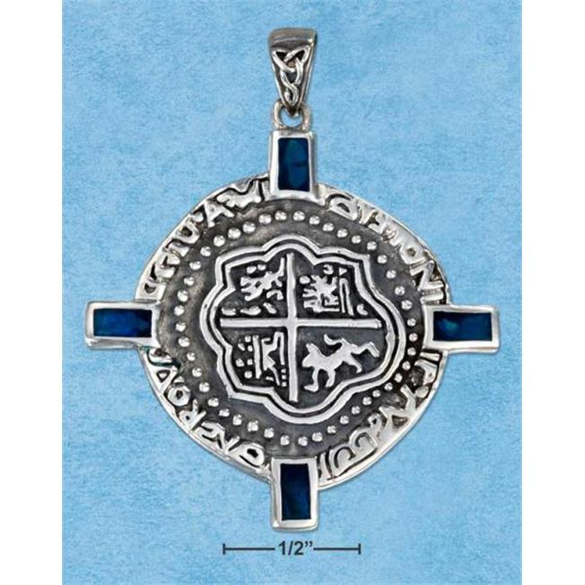 Sterling Silver Pirate Coin Pendant with Paua Shell Inlay - image 1 de 1