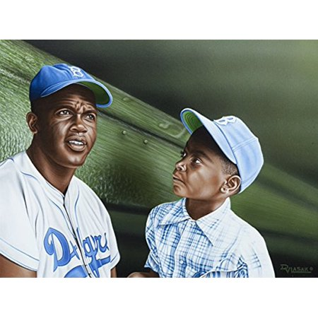 CANVAS Jackie Robinson Chatting with Young Fan in the Dugout by Darryl Vlasak Oil Painting Print on Wrapped - Fan Oil Paintings