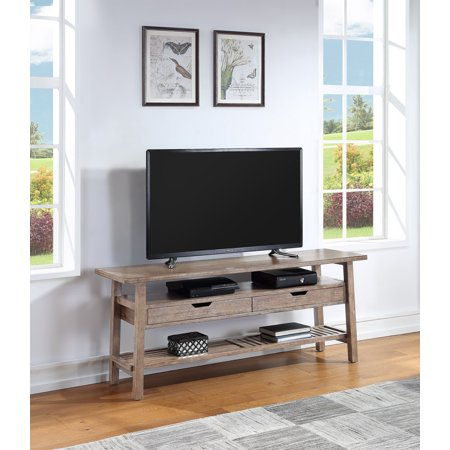 Boraam Sonoma TV Stand, Barnwood Wire-Brush Add a farmhouse feel to your home with the Boraam Sonoma TV Stand. Constructed with acacia wood and MDF, the Sonoma TV Stand brings a unique look to your living area. It is designed with a bottom shelf to place decorations or TV accessories, and also has two drawers in the middle for extra storage. The Sonoma TV Stand has great height and length and is strudy enough for any TV to be placed on it. All tools and hardware are included for quick assembly.