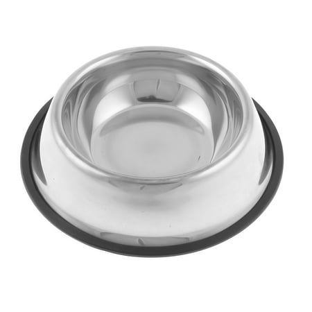 Unique Bargains Doggie Dog Pet Stainless Steel Food Drinking Water Bowl Dish Holder 1 Inch Depth