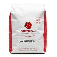 Coffee Bean Direct Dark Roast Decaf Whole Bean Espresso, Original, 80 Oz