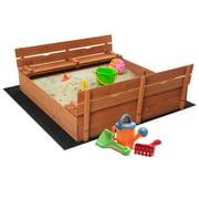 Wooden Sandbox  Kids Outdoor Backyard Bench Play Sand Box