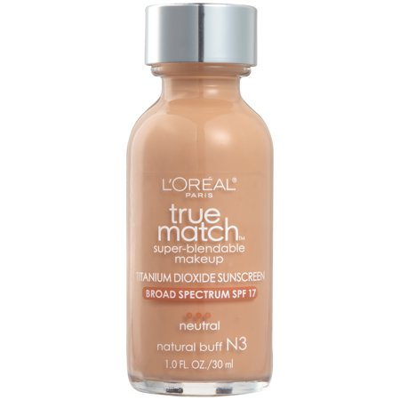L'Oreal Paris True Match Super-Blendable Foundation Makeup, Natural Buff, 1 fl.