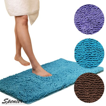 Spencer Soft Microfiber Non Slip Absorbent Bathroom Shower Rugs Carpet Machine-Washable Bath Mat