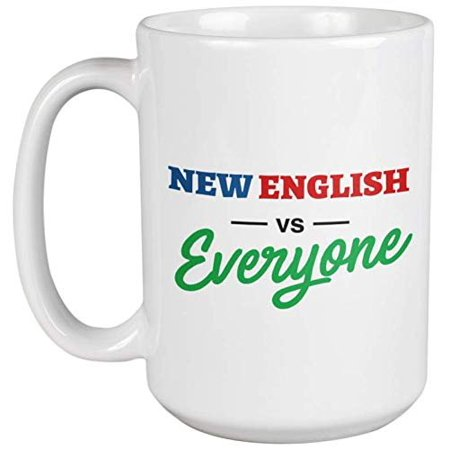 New English Vs. Everyone Funny Cute Culture And Pride Saying Coffee & Tea Gift Mug For University Students, Teenagers, Native New England Men & Women, City Traveler And Sarcastic People (15oz)