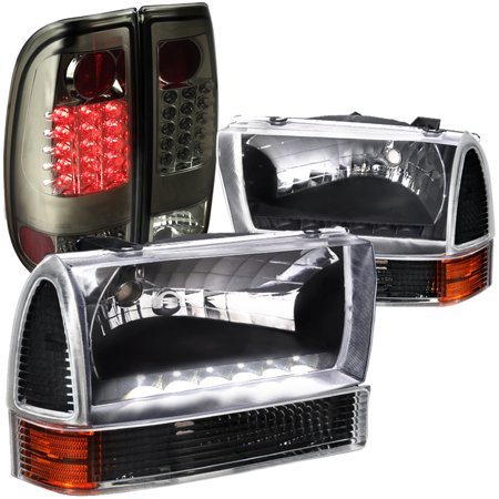 Spec-D Tuning For 1999-2004 Ford F250 Super Duty Style Side, Black Headlights, Corner, Smoked Led Tail Lamps (Left+Right) 1999 2000 2001 2002 2003 2004