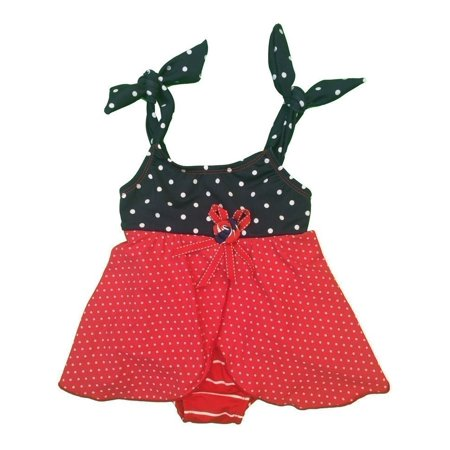 Little Girls Red Striped Dotted Tie Rosette Accent One Piece Swimsuit 3T