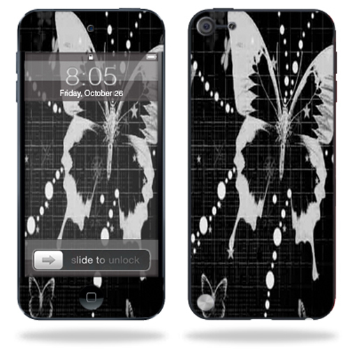 Mightyskins Protective Skin Decal Cover for Apple iPod Touch 5G (5th generation) MP3 Player wrap sticker skins Black Butterfly