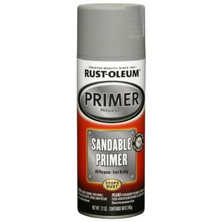 Rust-Oleum 249415 Automotive Spray Primer, Sandable, Grey, 12-oz. (Flat Gray Spray Paint)
