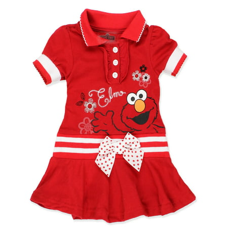 Baby Girl Polo Dress - Sesame Street Elmo Baby Toddler Girls Knit Polo Dress with Collar 8SE5404