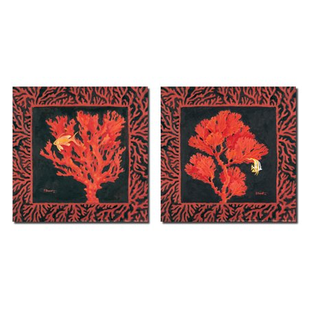 Sea Fan I Lovely Orange Vintage Coral Reef and Fish Prints; Two 12x12 Poster Prints