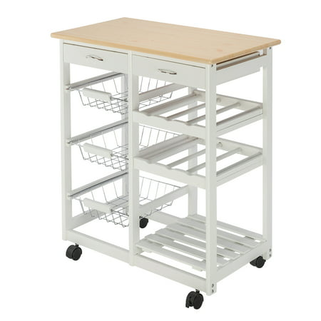 Kitchen Carts, Microwave Oven Stand Storage Cart on Wheel with 2 Drawers, 3 Metal Baskets, 3 Shelf Panels, Microwave Cabinet with Storage, Rustproof Pine and PVC Panels Bakers Rack, Q3486 ()