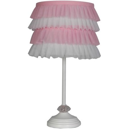 Mainstays table lamp with pink ruffle shade walmartcom for Mainstays floor lamp with table walmart