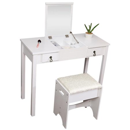 Ktaxon Vanity Set,Flip-top Mirror Dressing Table Makeup Vanity Table Writing Desk with 2 Drawers and Stool, White ()