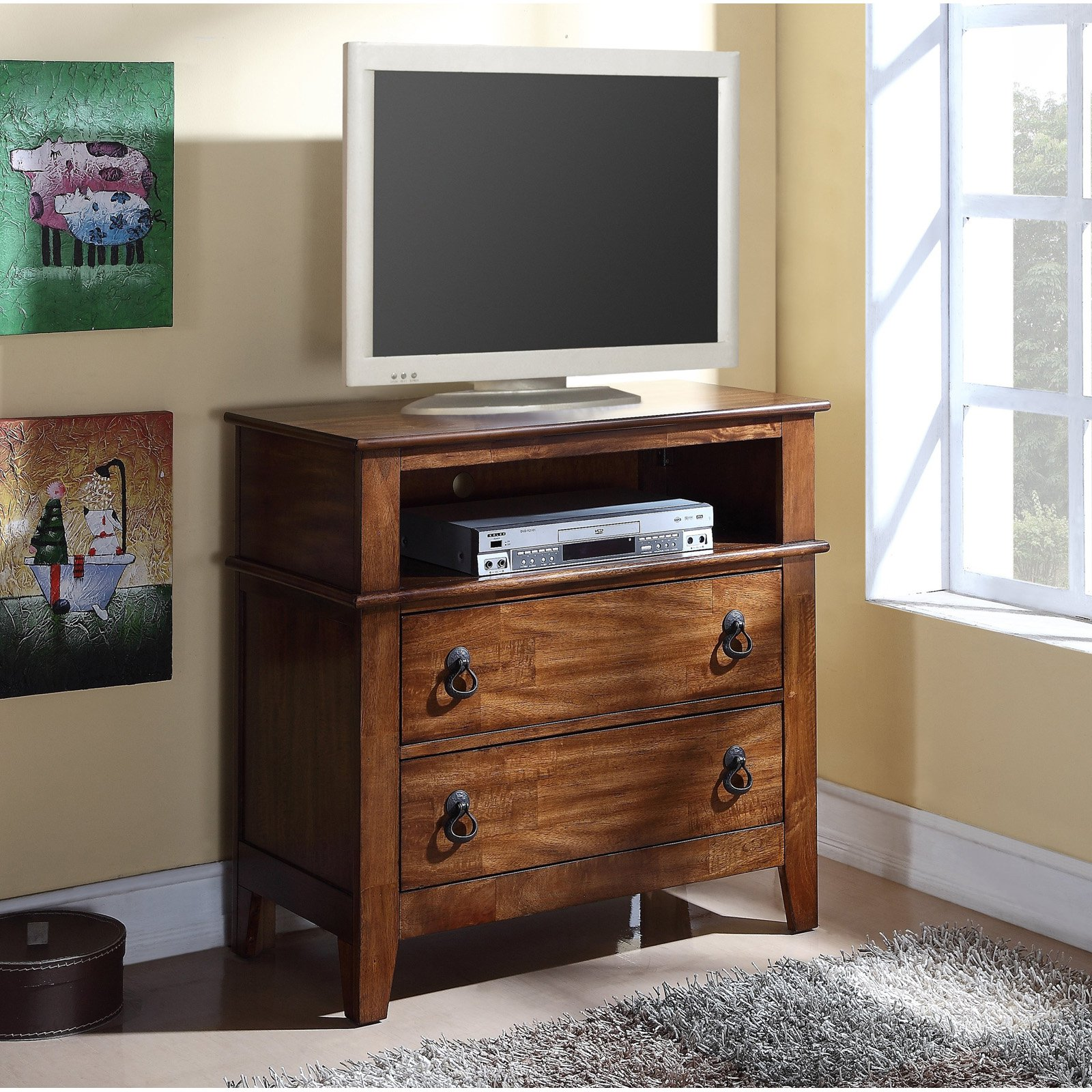 Picket House Furnishings Tucson Youth 2 Drawer Media Chest - Light Brown Lacquer
