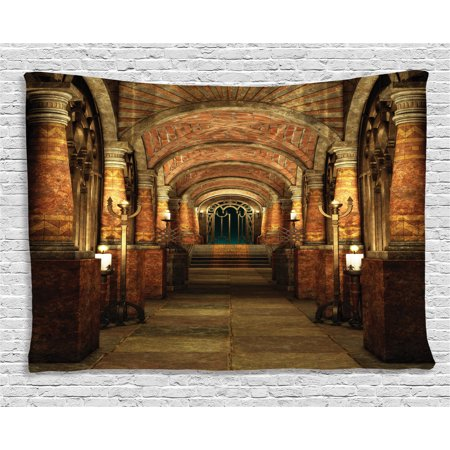 Gothic House Decor Tapestry, Ancient Passage with Stairway Gateway Mystic Pillar Medieval Temple Theme, Wall Hanging for Bedroom Living Room Dorm Decor, 80W X 60L Inches, Red Brown, by Ambesonne](Medieval Times Theme)
