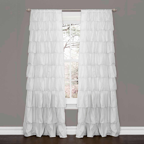Ruffle White Window Curtain - Walmart.com Ruffled Curtains