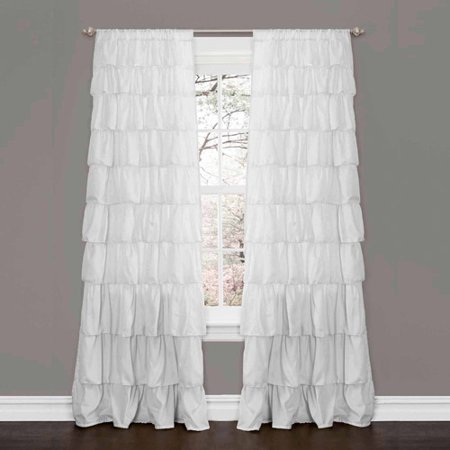 Ruffle White Window Curtain