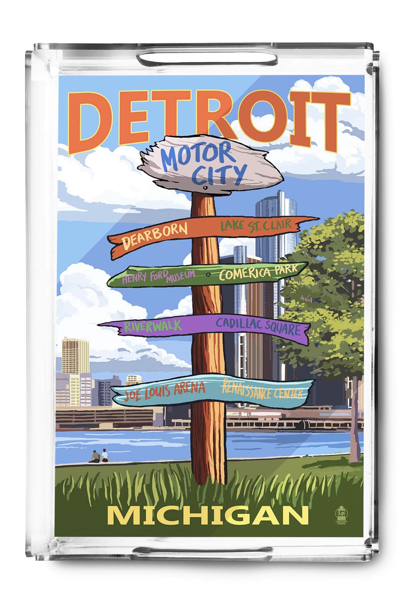 Detroit, Michigan Sign Post Lantern Press Artwork (Acrylic Serving Tray) by Lantern Press
