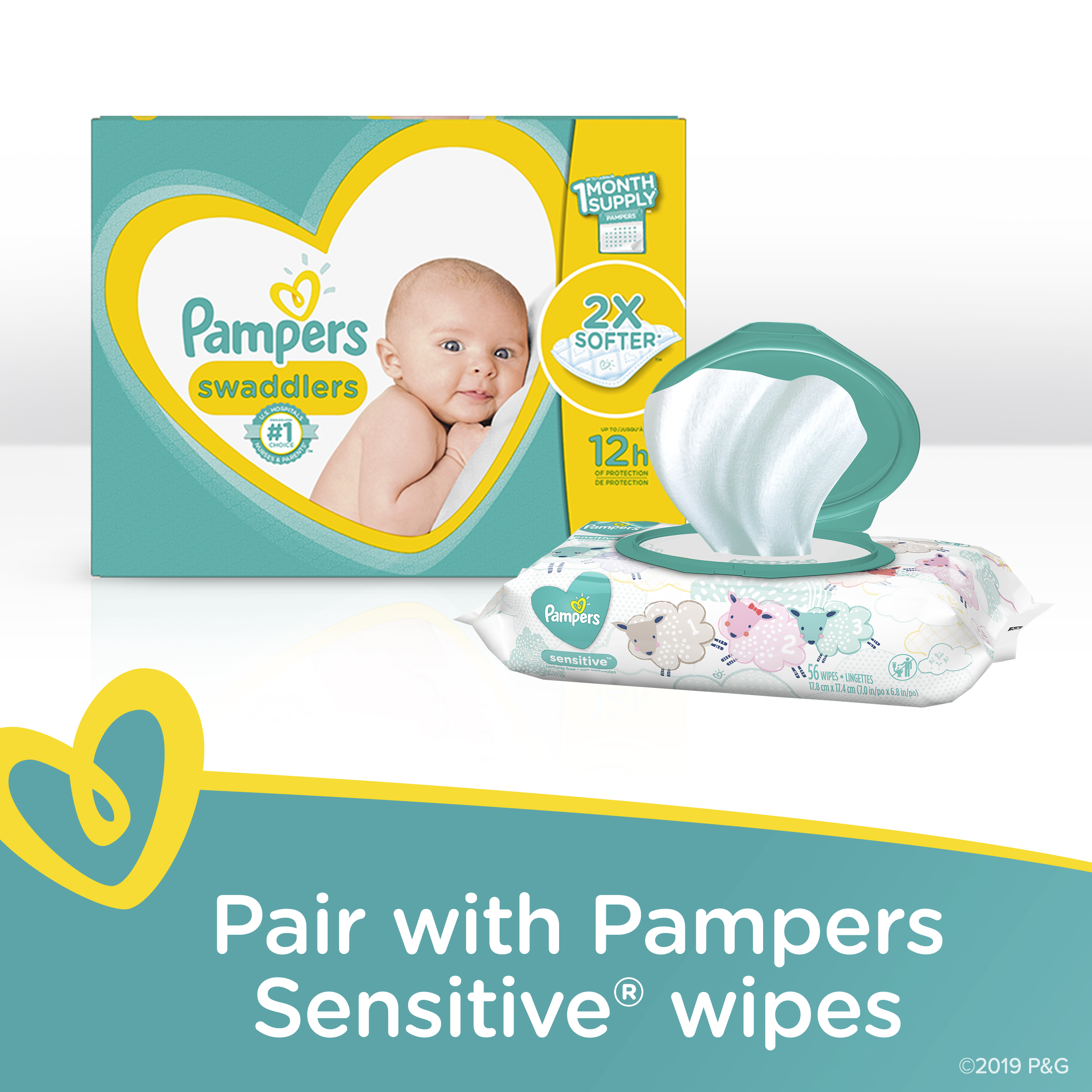 Baby Dry Disposable Baby Diapers Pampers Diapers Size 4 1 Set 336 Count 186 Count ONE MONTH SUPPLY with Baby Wipes Sensitive 6X Pop-Top Packs