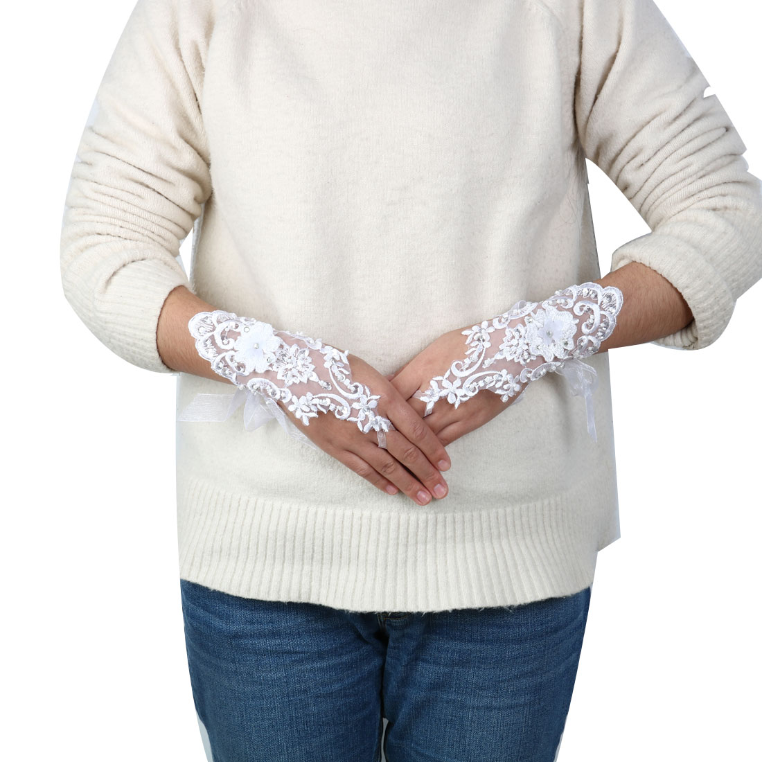 Bridal Party Polyester Flower Style Craft Bride Hand Lace Fingerless Glove Pair