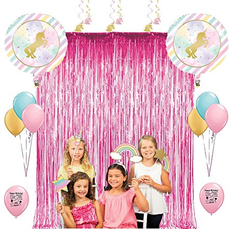 Magical Unicorn Birthday Party Photo Booth Props Balloons Decoration Kit