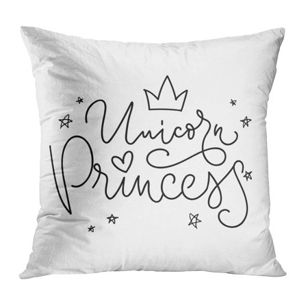 ECCOT Word Unicorn Princess Crown and Phrase and Inspiration Quote Black Child Cute Doodle Drawing Pillow Case Pillow Cover 20x20 - Cute Inspiration