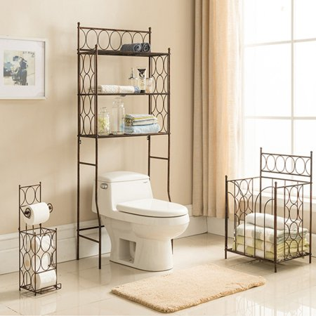 Copper Low Grid Rack - K&B Furniture Copper Iron 3 Tier Bathroom Rack