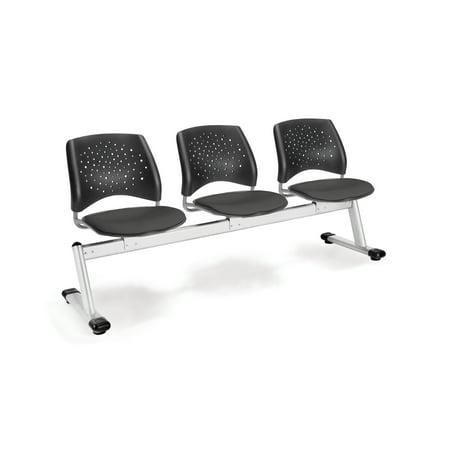 Ofminc Group Seating Furniture Stars 3-Unit Beam Extra-thick Black Plastic Back Slate Grey Triple Curve Seat Design (Beam Seating)
