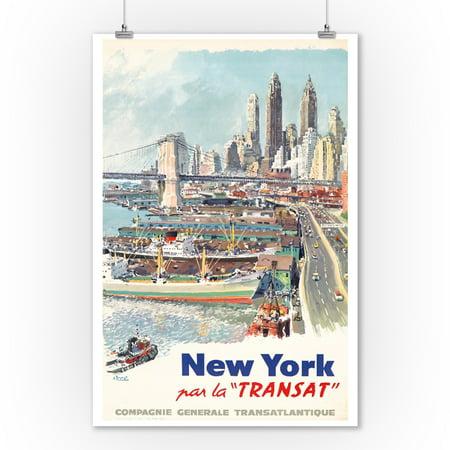 New York - Transat Vintage Poster (artist: Brenet) France c. 1955 (9x12 Art Print, Wall Decor Travel Poster)