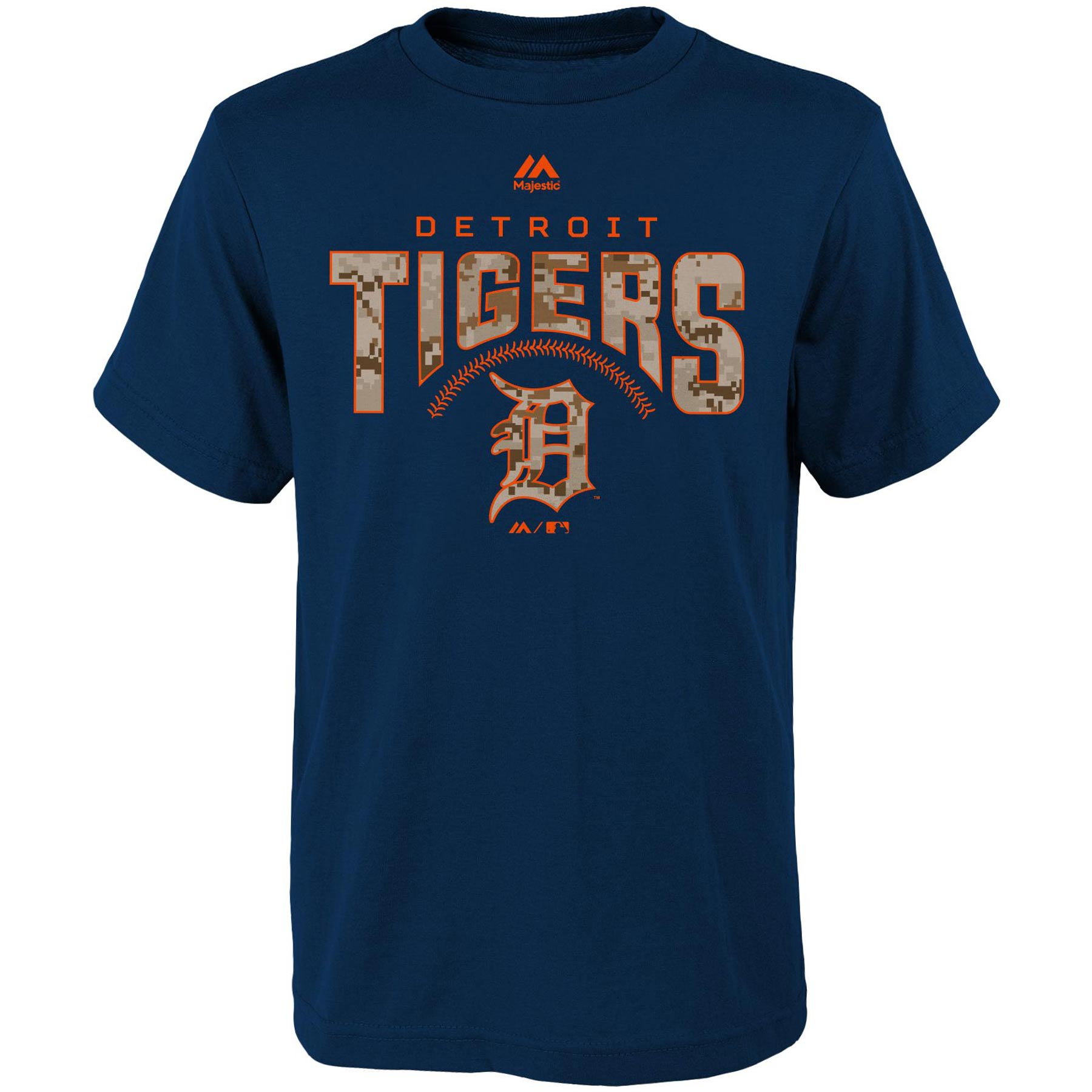 Detroit Tigers Majestic Youth Digi Camo T-Shirt - Navy