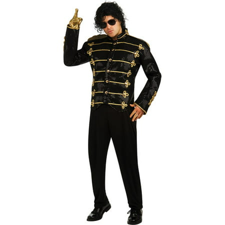 Michael Jackson Black Military Jacket Deluxe Adult Halloween Costume - Michael Jackson Makeup Halloween