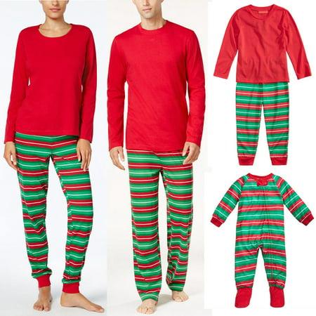 Christmas Family Pajamas Long Sleeve Top Striped Pant Kid Mom Dad Sleepwear Suit