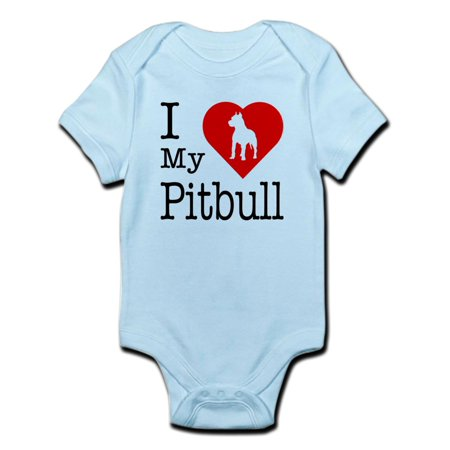 CafePress - I Love My Pitbull Terrier Infant Bodysuit - Baby Light Bodysuit