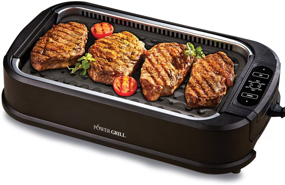 Large Non-Stick Dishwasher-Safe Grilling Plate 15.4 x 9.1 HG1764 Powerful 1600 Watts Salton Smokeless Electric Indoor Health Grill Black Adjustable Temperature Control with Indicator Light