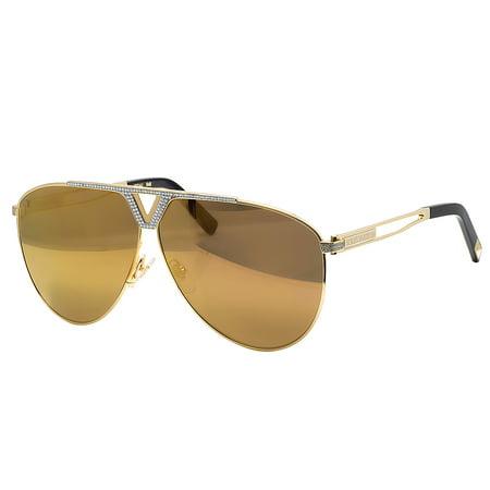 Louis Vuitton Men's Custom Brown Shades Tonca Diamond Sunglasses Z2314U 1.85CT - Custom Sunglasses Cheap