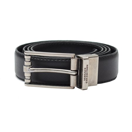 d6c408397151d Versace Collection Men's Adjustable Stainless Steel Buckle Saffiano Leather  Reversible Belt Black - Walmart.com