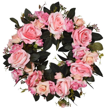 Artificial Rose Flower Wreath - Door Wreath 15 Inch Fake Rose Spring Wreath for Front Door, Wall, Wedding, Home Décor (Pink )