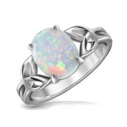 BFF Triquetra Celtic Love Knot Oval White Created Opal Ring for Teen for Women 925 Sterling Silver